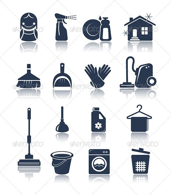 Cleaning blue icons — Vector EPS #domestic #duster • Available here → https://graphicriver.net/item/cleaning-blue-icons/5633765?ref=pxcr