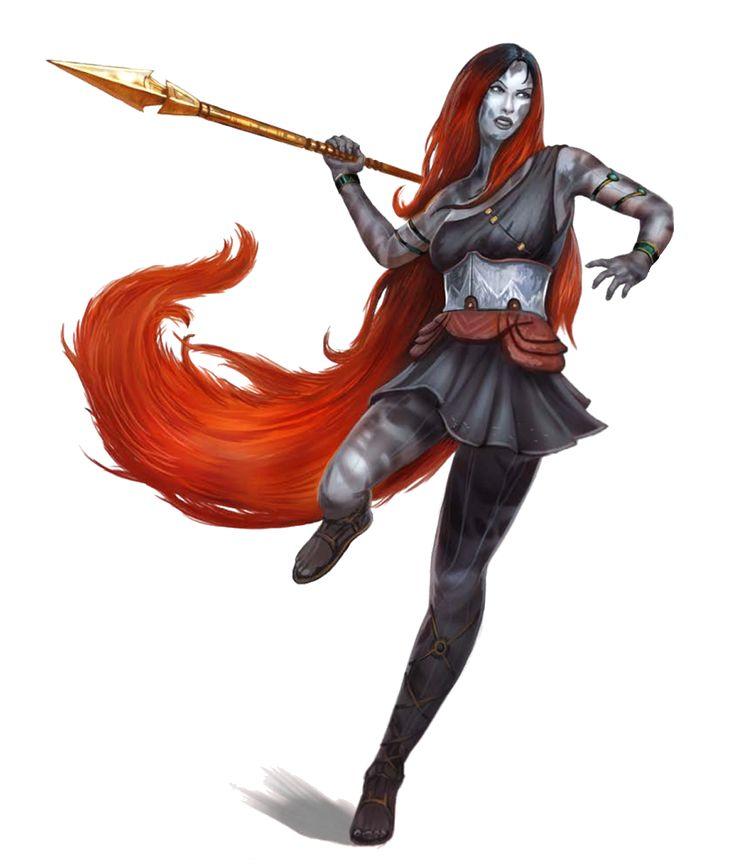 Female Aasimar Spear Fighter - Pathfinder PFRPG DND D&D d20 fantasy