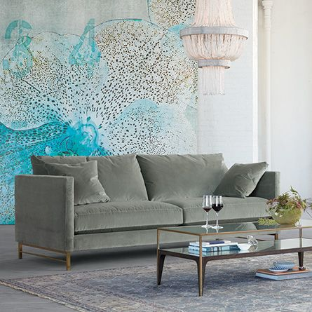 Hayden 88 Upholstered Brass Satin Sofa In Vance Cloud CloudsLiving Room