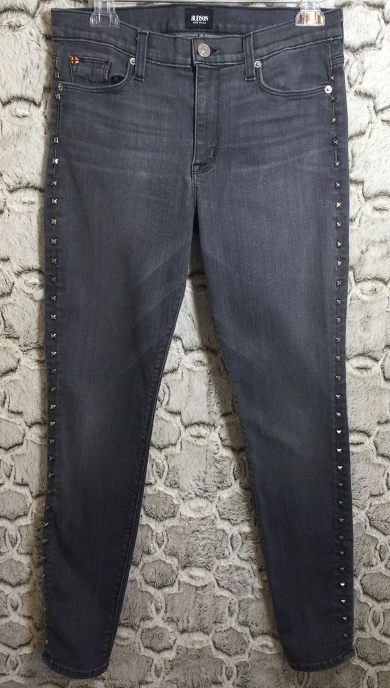 Hudson Nico Super Slim Skinny Womens Jeans Stretch Studded Gray 28/30 Rocker #Hudson #SlimSkinny