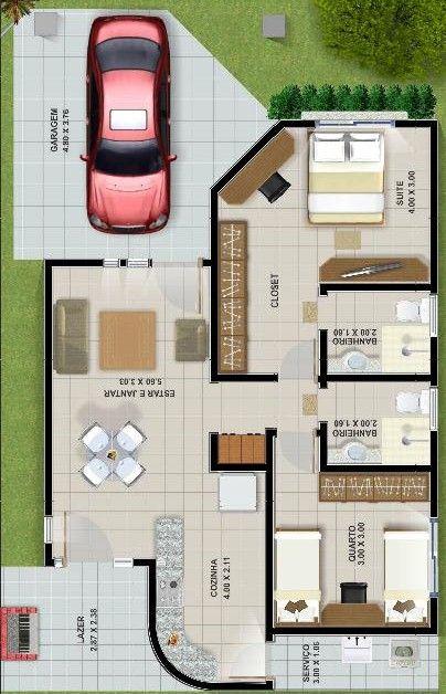 Plano de casa de 94 M2 y 2 Dormitorios