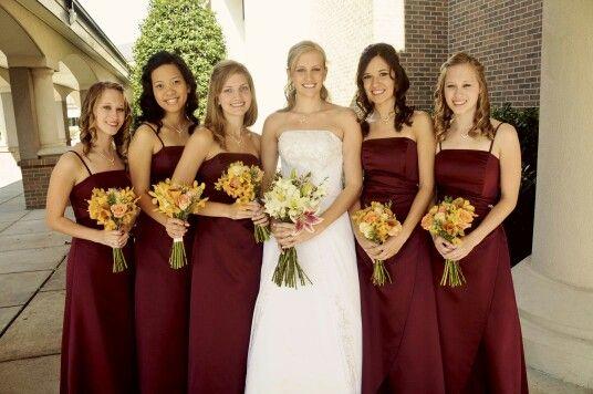 Golden Colour Wedding Gowns: Burgundy Bridesmaid Dresses