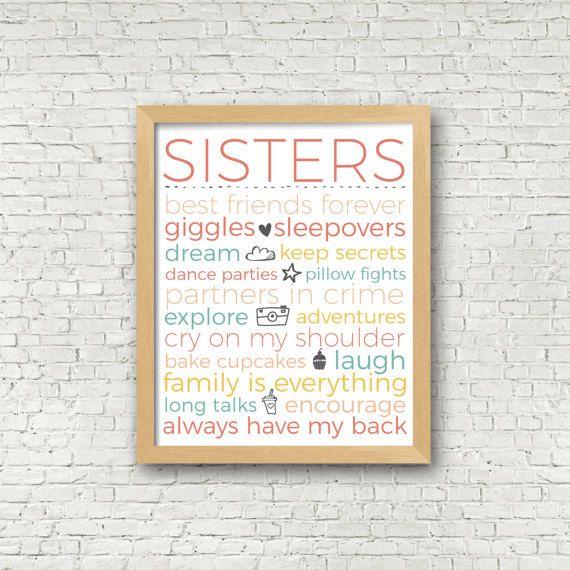 Sisters Subway Art Digital Art Print Sisters Typography girls room sisters room decor 8x10 and 11x14 pink yellow coral girls room art print