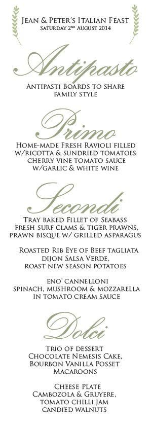 Eno' sample wedding menu €59 pp #eatateno  www.eno.ie