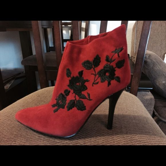 Woman booties New red suede booties with the silk black embroidery. Have never been worn J. Renee Shoes Ankle Boots & Booties