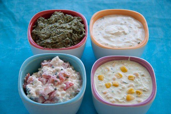 Spinat Artischocken Dip, Kräuterschmand, Tomaten Hüttenkäse, Zucchini Mais Creme Fraiche