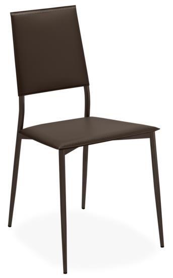 Sedia in metallo con sedile e schienale in cuoio