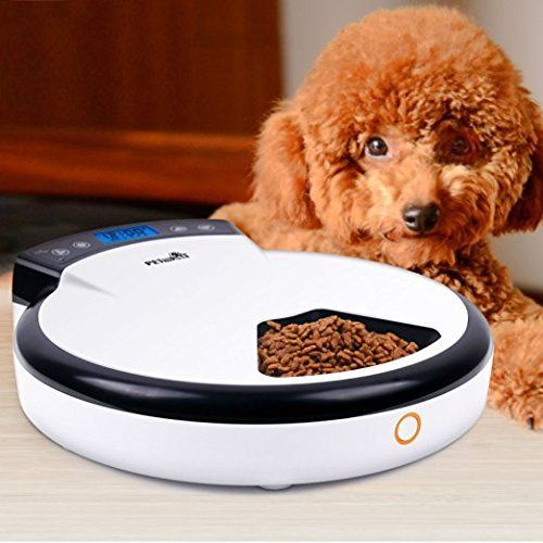 Automatic Pet Feeder,WOpet 5 Meals Tray Electronic Programmable Automatic Feeder for Dog/Cat with LCD display *** You can find more details by visiting the image link.