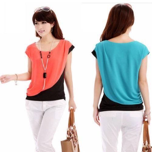 Fashion Women Lady Short Sleeve Shirt Loose Chiffon Blouse Casual Career Tops wn