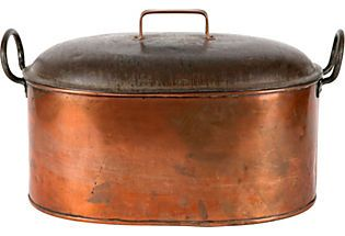"antique large copper pot- similar to one my grandmother used on top of coal stove to ""boil her clothes on washday"".....oh the good ole days...Not."