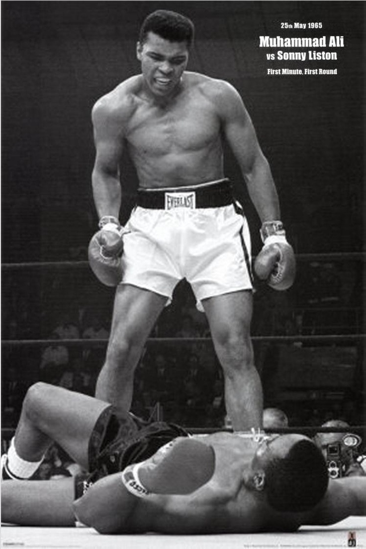 "On May 25, 1965, in Lewiston, Maine, Muhammad Ali and Sonny Liston faced off for the second time. Ali won the first fight the previous year. The ending of the second fight remains controversial even today. Half way through the first round, Liston fell to the canvas, which many believe was not a legitimate knockdown. Ali then refused to go to a neutral corner. Instead, Ali stood over Liston, gesturing and yelling at him, ""GET UP AND FIGHT, SUCKER!"" It was then when Neil Leifer snapped this image.Famous Posters, Picture-Black Posters, Posters Prints, Book, Muhammad Ali Quotes, Canvas, Allposters Com, Sonny Liston, Ali Prints"