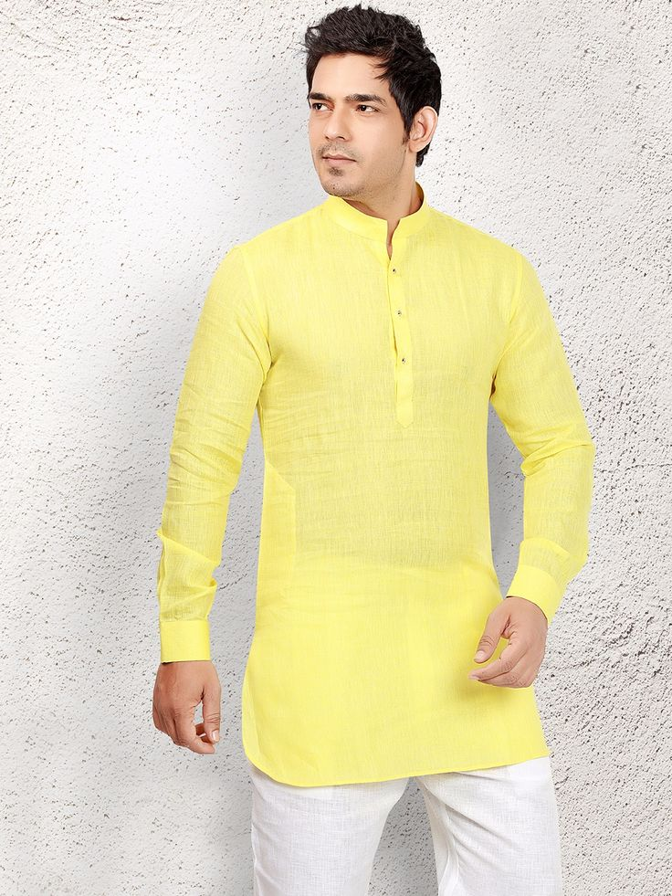 Linen Yellow Festive Short Pathani