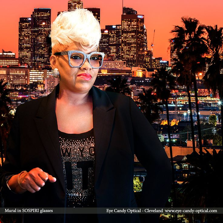 Mural means fashion business in L.A. wearing her new sparkly designer glasses by Sospiri.  Eye Candy - Empower yourself and supercharge your look with the finest European Eyewear Fashion!  Eye Candy Optical Cleveland - The Best Glasses Store! (440) 250-9191 - Book an Eye Exam Online or Over the Phone