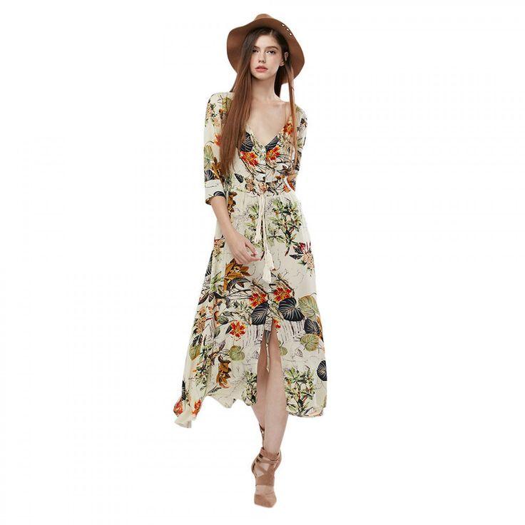 2017 NEW Autumn Spring Bohemian Vintage Dress Women Ethinc Print Long Sleeve Split hem Long Maxi Dresses female Vestidos