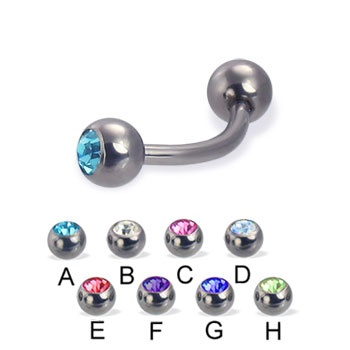 Titanium jeweled curved barbell, 14 ga