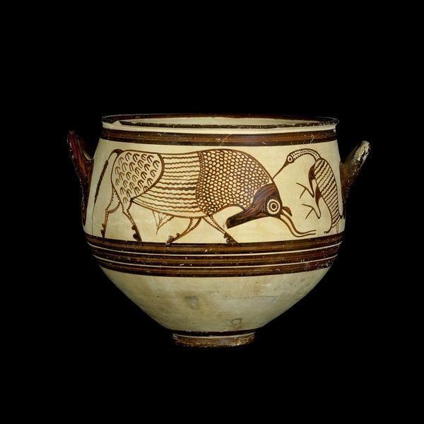 Mycenaean, about 1300-1200 BC From Tomb 83, Enkomi, Cyprus In the 'Pictorial Style' This vase is a fine example of Mycenaean Pictorial Style pottery. It is decorated with a well-observed scene from nature, showing a cattle egret removing a tick from the hide of a bull. On the other side of the vase is a bull with a bird in the air above it.