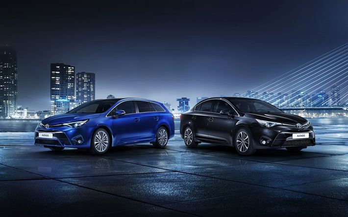 Download wallpapers Toyota Avensis, 2017 cars, night, japanese cars, Toyota