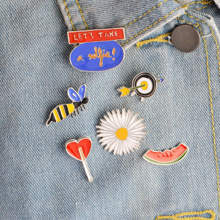 6pcs/set LET'S TAKE a selfie Bee Watermelon Daisy Love Lollipop Arrow Target Brooch Denim Jacket Pin Shirt Badge Fashion Gift