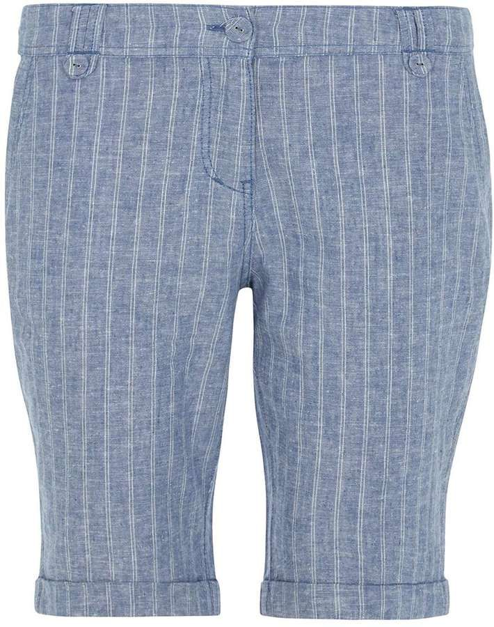 Petite linen stripe knee shorts