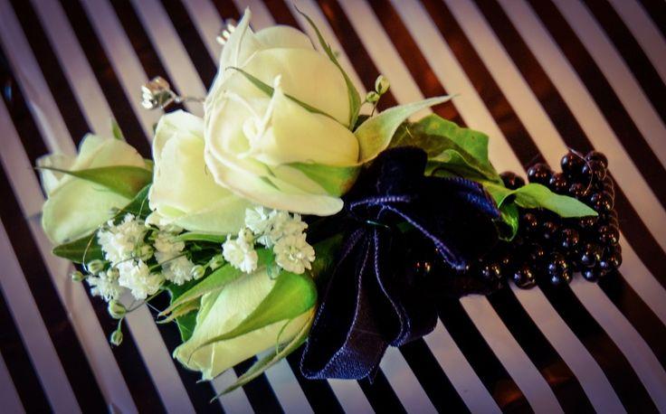 White Rose, Gypsophila, Black Velvet Ribbon, Black Bracelet , Diamante - St Kents College Ball 2014 #rubyandblush#corsage#schoolball#prom#aucklandflorist#floristauckland