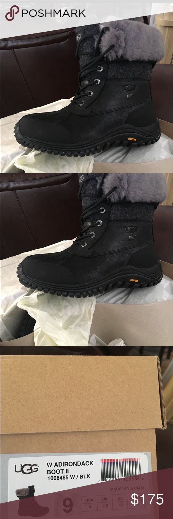 NWT UGG ADIRONDACK BOOTS! NWT UGG ADIRONDACK BOOTS! Never worn! Black and grey! UGG Shoes Winter & Rain Boots