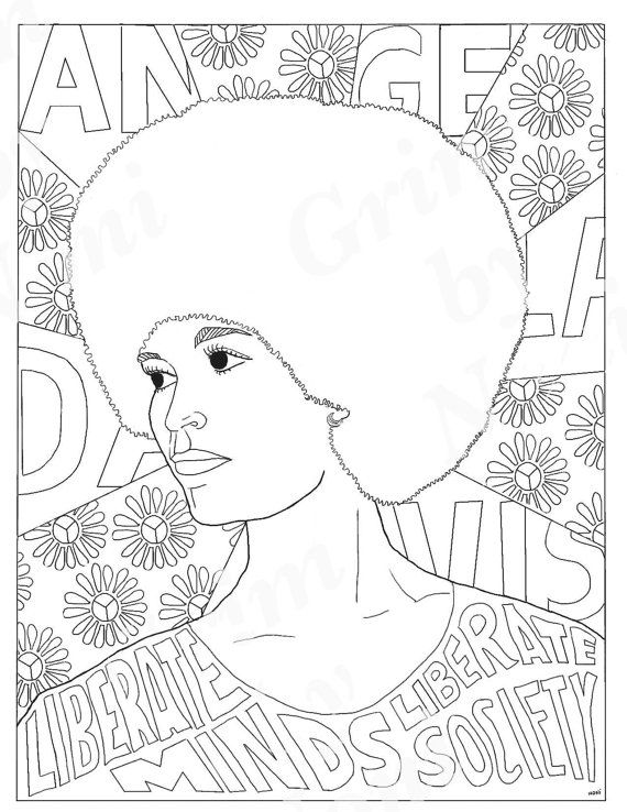 National Women's History Month coloring pages: Angela Davis | Feminist Coloring