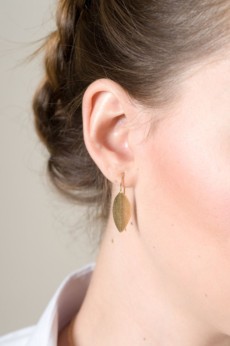 Large folded Leaf Earrings, Dandle Earrings, Leaf Eaarings, Trendy Fashion Earrings, Nature Inspired Jewelry, 14K Gold plated