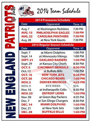 2014 New England Patriots Football Schedule Magnet
