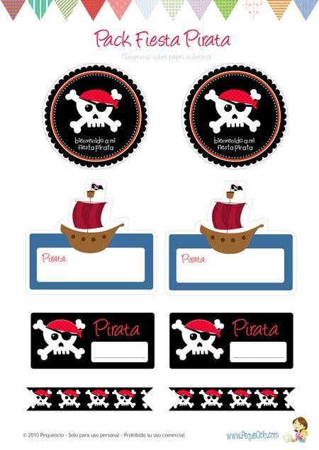 Invitaciones y adornos para fiesta pirata                                                                                                                             Más
