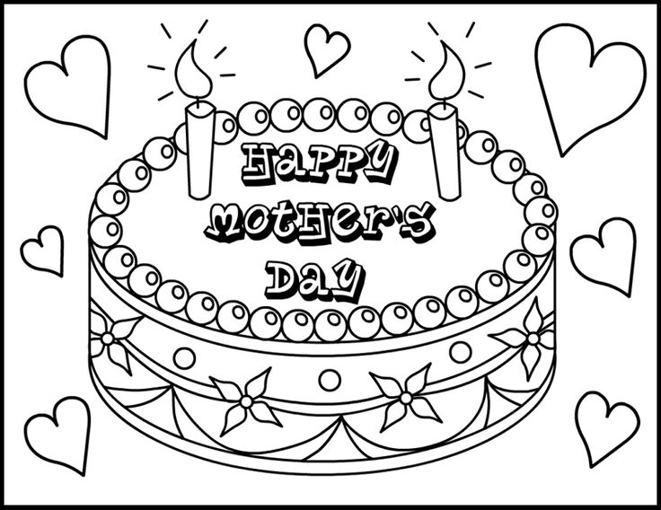 cake for mothers day coloring picture for kids