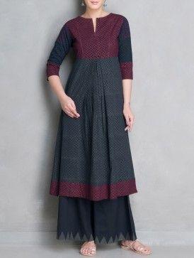 Indigo-Maroon Printed Pleated Mangalgiri Cotton Kalidar Kurta