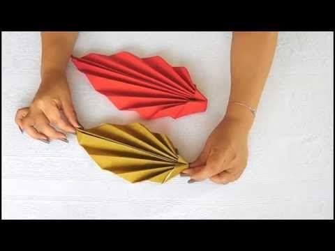 Doblar servilletas de papel - Decorar la mesa con servilletas - Servilleta forma hoja. Link download: http://www.getlinkyoutube.com/watch?v=KAOfxl_p048