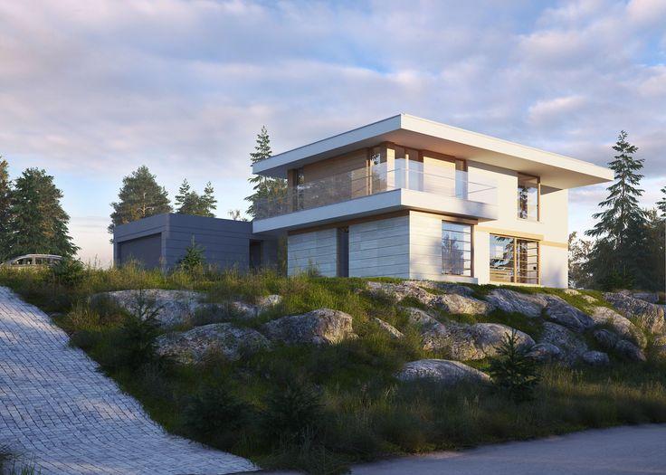 LK&1257 projekt domu w stylu nowoczesnym na skarpę #projekt #architektura