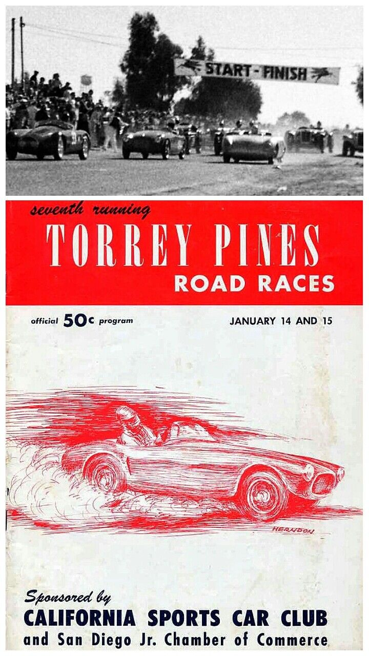 Sports car racers in the San Diego, California area took their machines to the streets of an abandoned WWII military base for the 7th annual Torrey Pines Road Races on 15 January 1956.  The race drew top U.S. sportscars racers, including Paul O'Shea, Carroll Shelby, Pete Lovely, John von Neumann, Ken Miles, Phil Hill and Jack McAfee driving Ferrari's, Porsche's, Allard's, Jaguar's and more, and had an estimated 35,000 spectators.