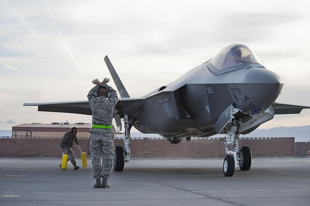 93 best Let s go Fly images on Pinterest   Airplanes  Bow ties and     Air Force Wing Lightning Aircraft Maintenance Unit crew chiefs marshals an  Lighting II aircraft at Nellis Air Force Base  Nev   March The first two  aircraft