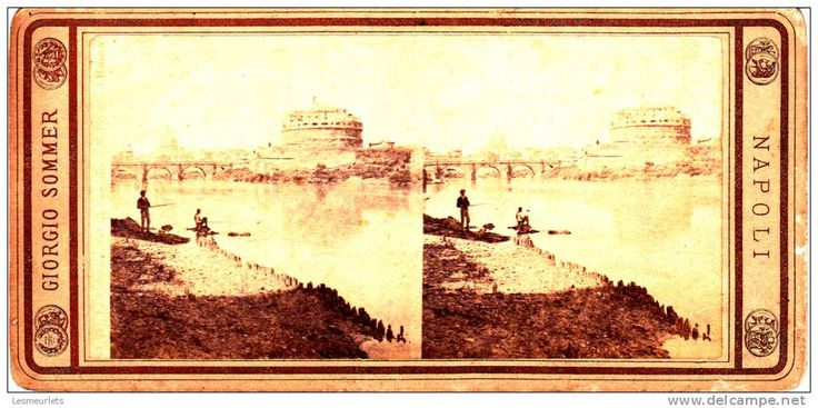 Stereograph view of fishermen and Castel Sant'Angelo, Rome.