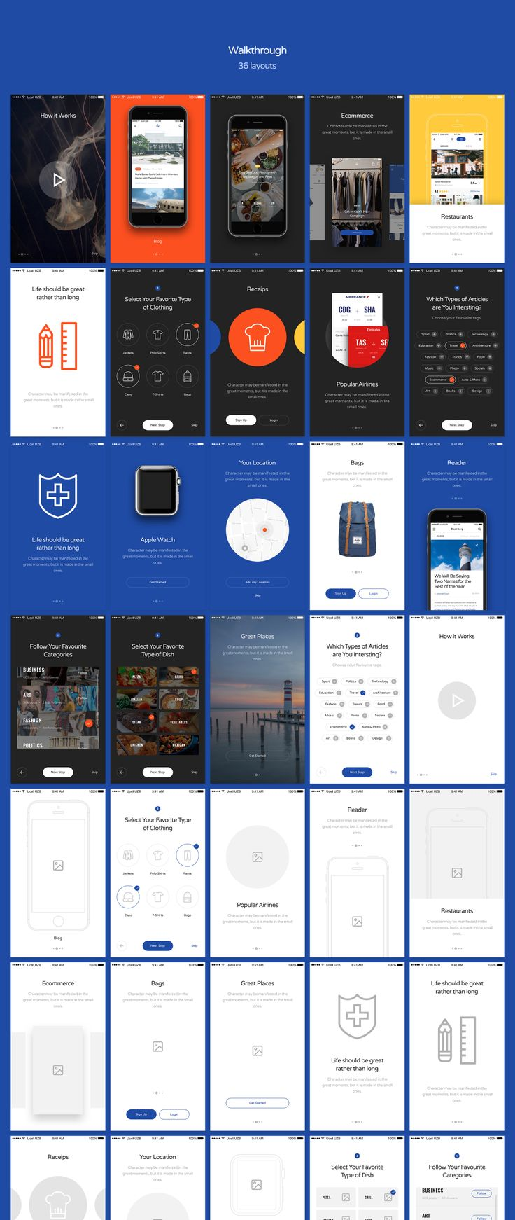 This awesome UI/UX Kit features a huge mobile UI Kit in both light & dark variants, as well as a Wireframe Kit for mobile projects. 290+ layouts in 8 categories helps to speed up your UI/UX workflow. Each layout was carefully crafted and based on modern design trends.