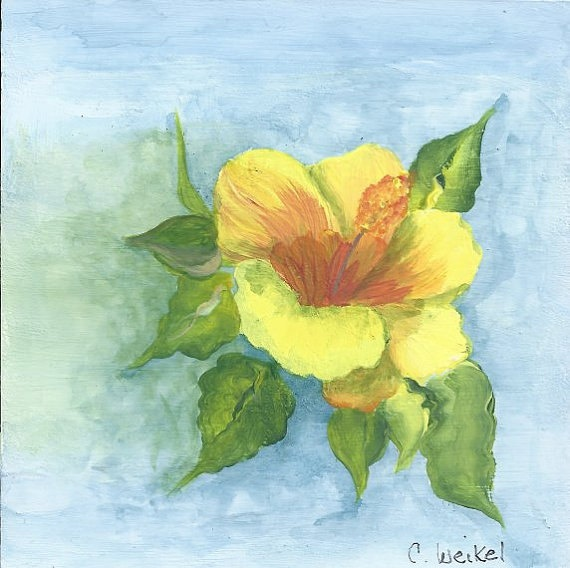 Original Miniature Painting Yellow HIbiscus by  WhatsInGrampasShack, $ 22.00 #etsy, #whatsingrampasshack, #dteam, #watercolor, #floral, #home decor, #clayboard, #acrylic, #hibiscus