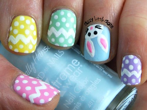 Day 11: Pastels – March Nail Art Challenge. Cute Easter nails!!! ahhhh!