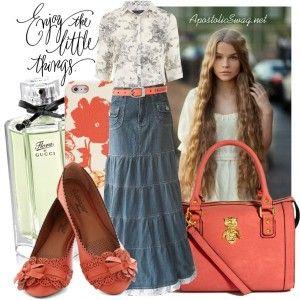 Country tiered jean skirt, floral print skirt, coral flats and handbag, long wavy hair