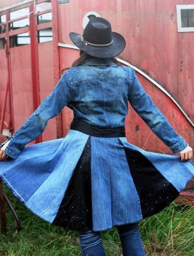 Denim and Black Satin Upcycled Blue Jean Jacket~~~~LOVE IT!!~~~~~
