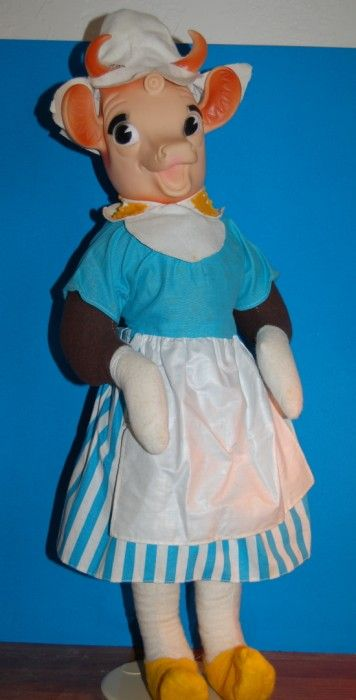 This Elsie the Cow doll was actually one of my favorites.  It was my mother's before me I believe she said.  I also had Beuregard. I remember going to Borden's factory to buy him.  Mama would make clothes for Elsie out of the scraps of the clothes she made for me.  I still have her somewhere.