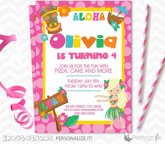 Luau party Invitations personalized party by PrettygrafikGifts