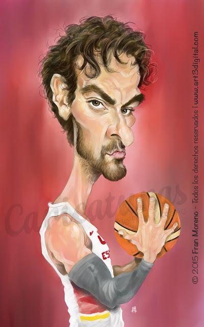 Caricatura del jugador de Baloncesto Pau Gasol por Fran Moreno