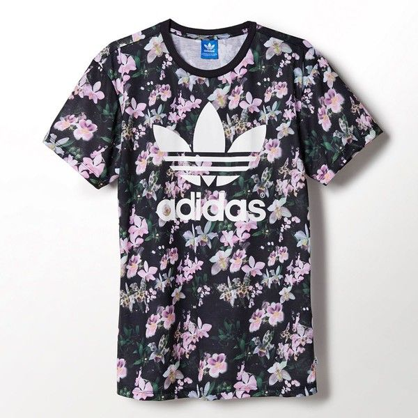 Adidas Orchid Boyfriend Tee ($18) ❤ liked on Polyvore featuring tops, t-shirts, shirts, tees, short sleeve, boyfriend t shirt, all over print t shirts, boyfriend shirt, adidas t shirt and floral shirt