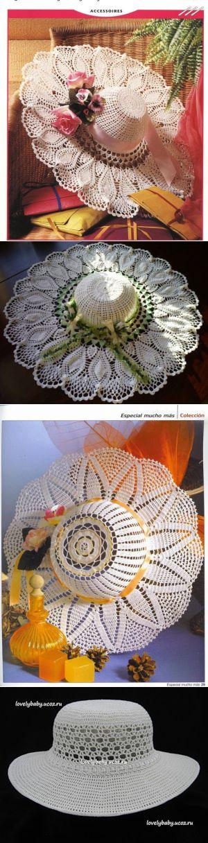 Летние шляпы с широкими полями, связанные крючком, схемы прилагаются — Рукоделие