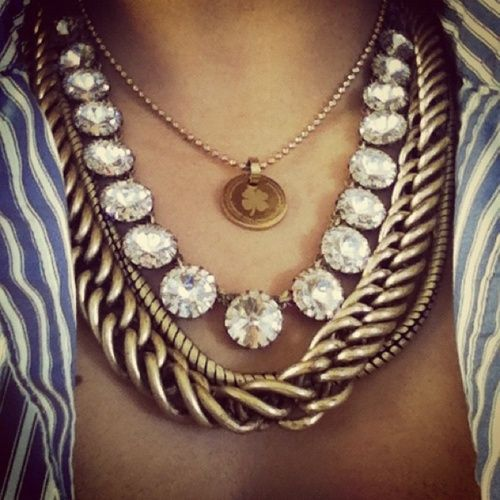 love the necklace combo: Fashion, Statement Necklaces, Style, Chains, Layered Necklaces, Jewelry, Jewels, Accessories, Chunky Necklaces