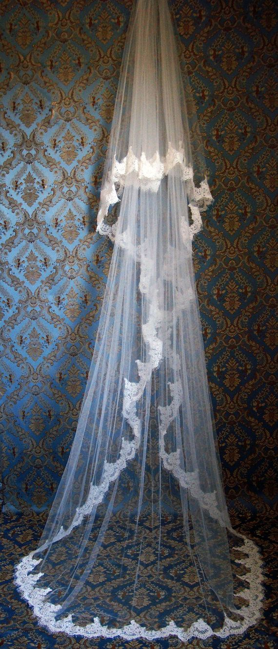 Luxury 2Tier Eyelash Lace Edge Cathedral Bridal by IheartBride, $399.00