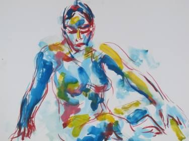 """Saatchi Art Artist Gustavo Silva; Painting, """"Woman seated with the lef  hand over the ankle, blue, red, yellow"""" #art"""