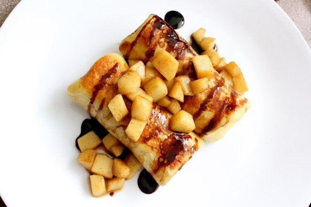 Brie and Apple Blintzes with a Balsamic Reduction Sauce